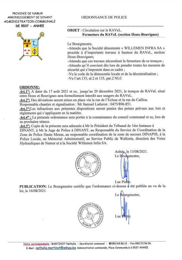Fermeture du RaVeL (section Houx Bouvignes)
